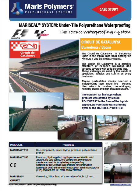 Terrace Waterproofing at the Circuit de Catalunya in Barcelona Spain