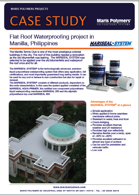 Flat Roof Waterproofing project in Manilla Tennis Club, Philippines