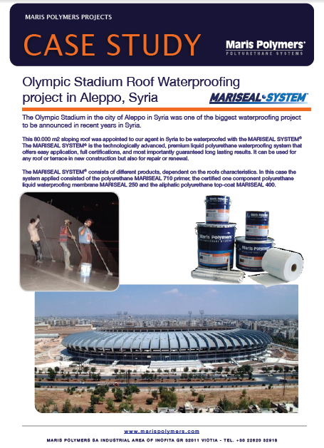 Olympic Stadium Sloping Roof Waterproofing project in Aleppo – Syria