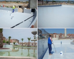 Decorative Waterproofing Artificial Pond in sunny Portugal