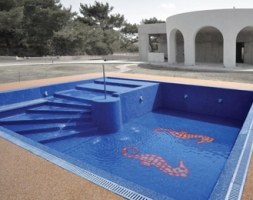 Sandcarpet Swimming-Pool Finish at a private residence in Rhodes Island